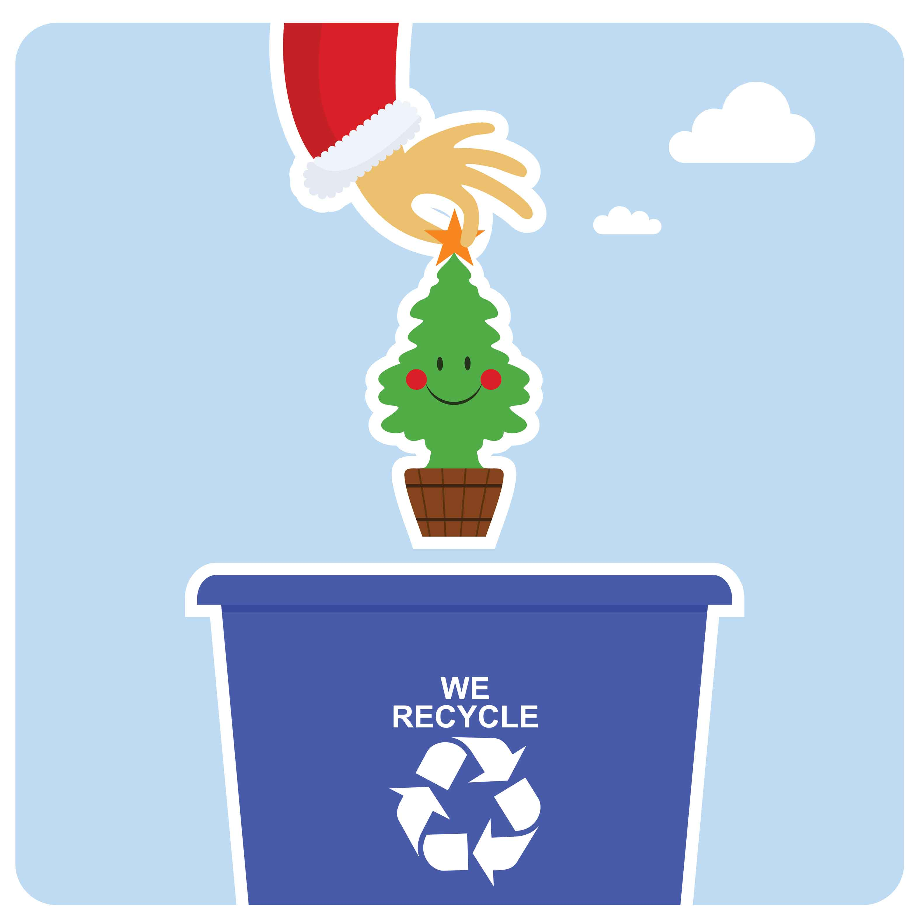 Cartoon decpiction of a Christmas tree being dropped into a recycling bin