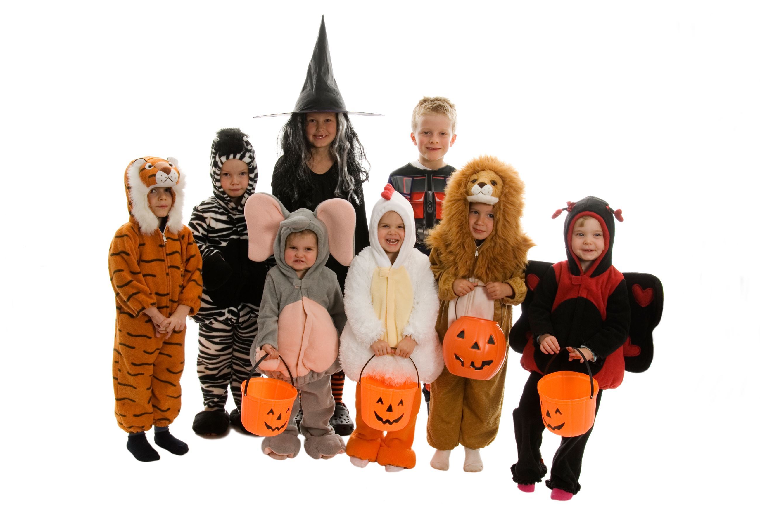 Group of young kids dressed in Halloween costumes