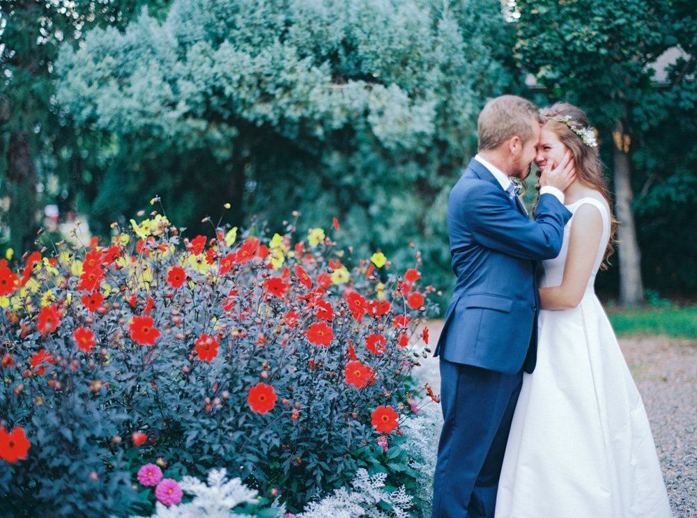 Couple by the flower gardens