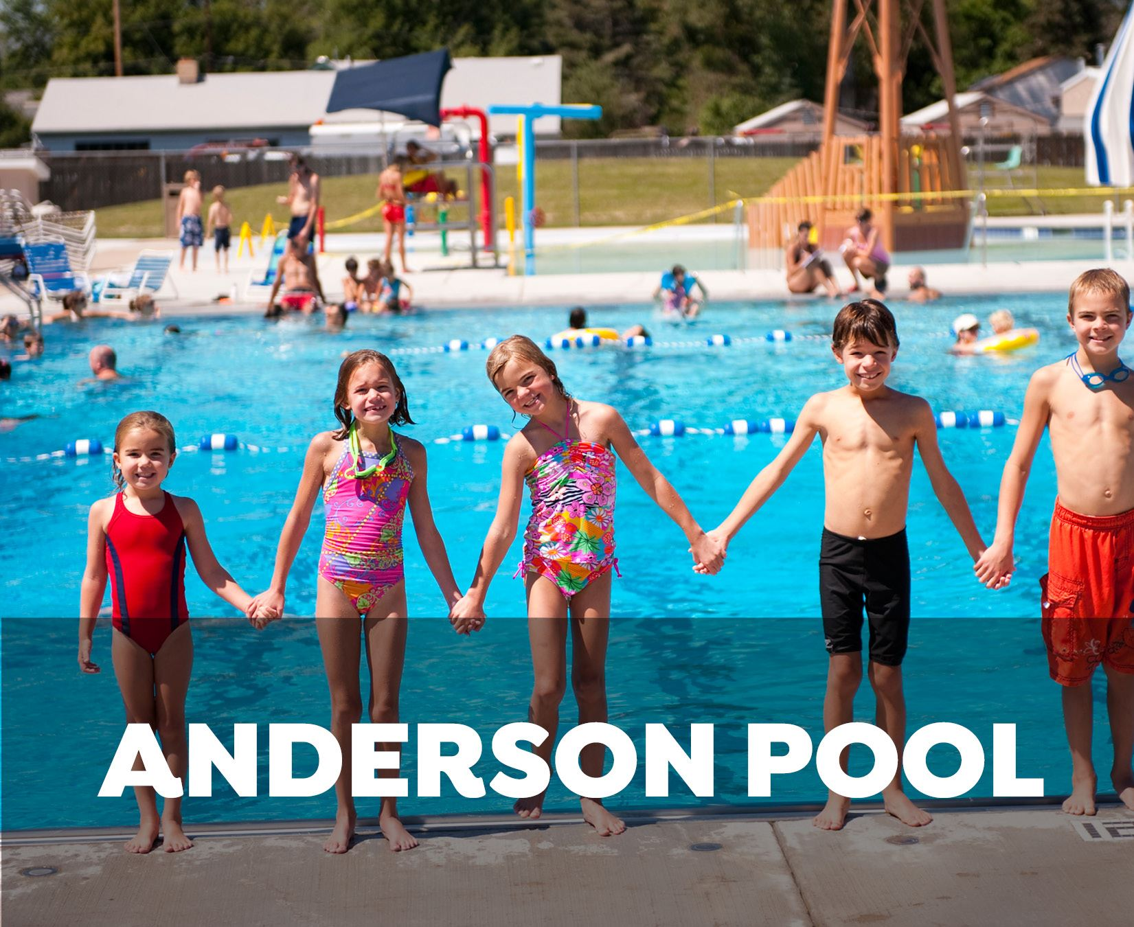 Anderson Pool - kids holding hands on pool deck