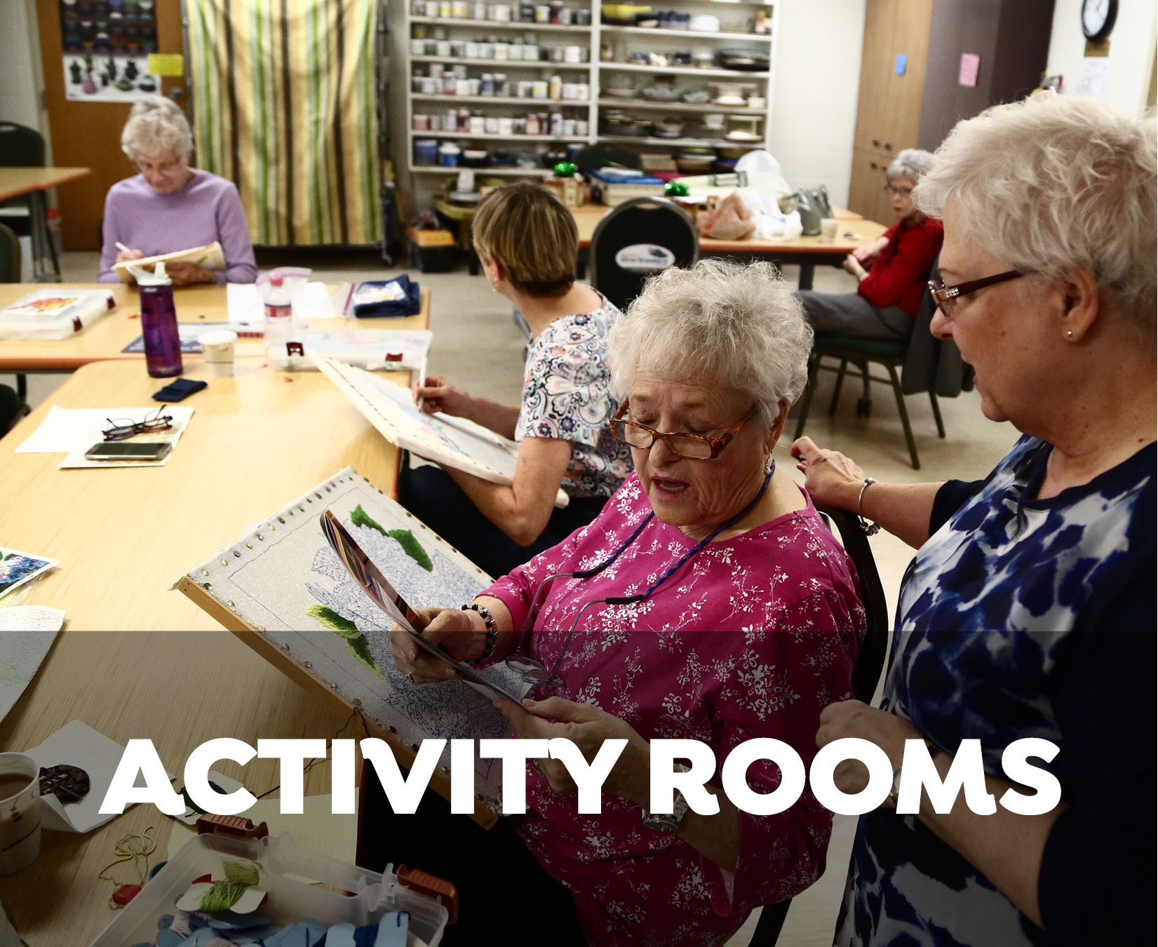 Activity Rooms - adults in art classroom