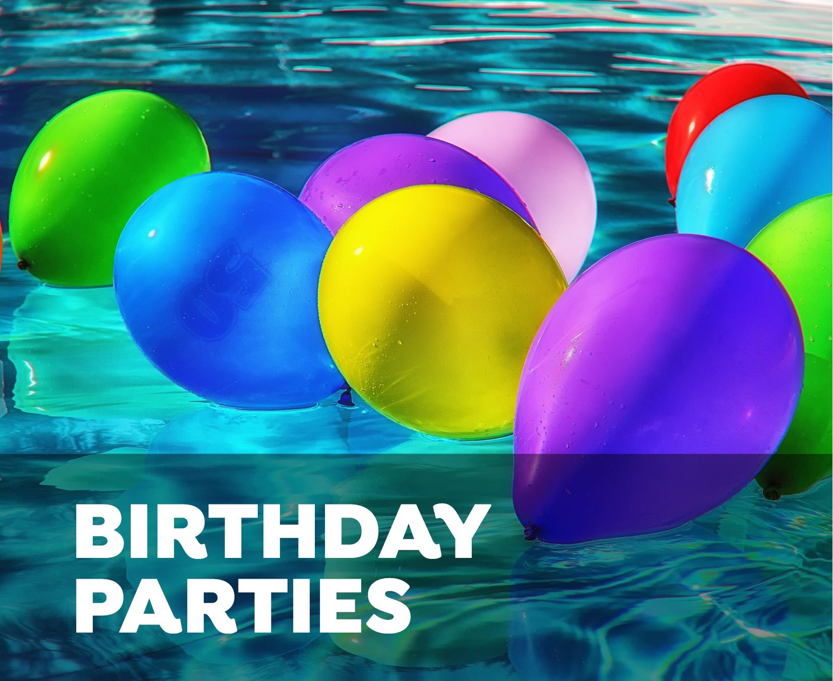 Birthday Parties - balloons floating in pool